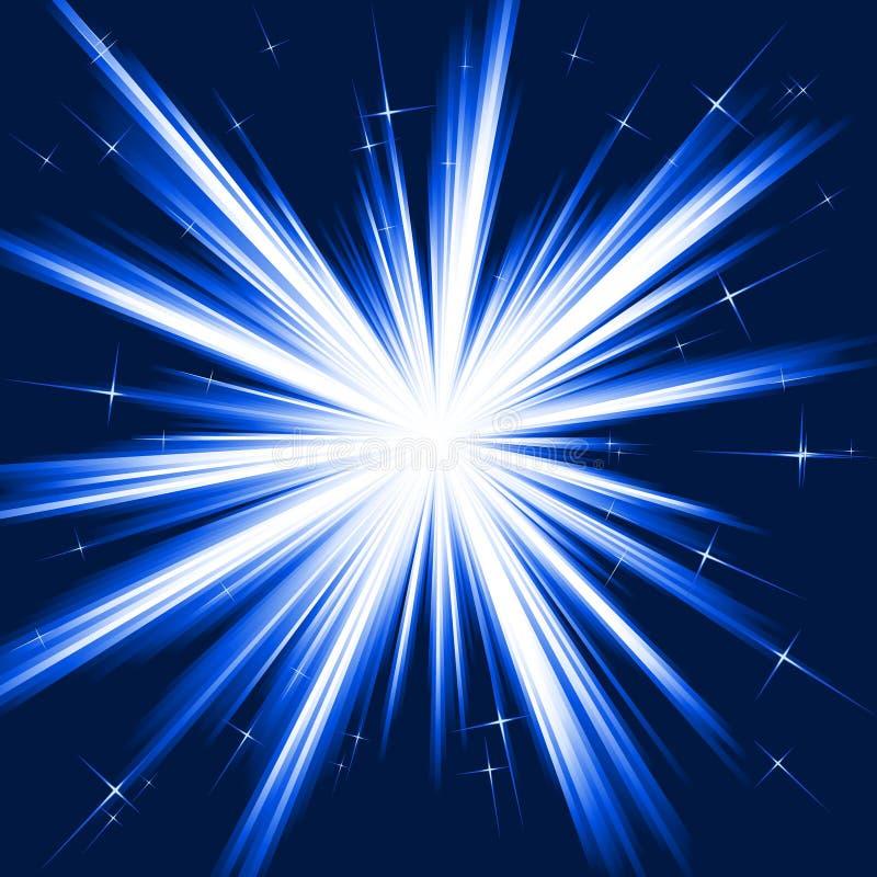 Indicatore luminoso blu, burst della stella, fuochi d'artificio stilizzati illustrazione vettoriale