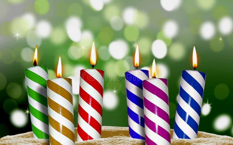 Indicatore luminoso della candela di compleanno fotografia stock
