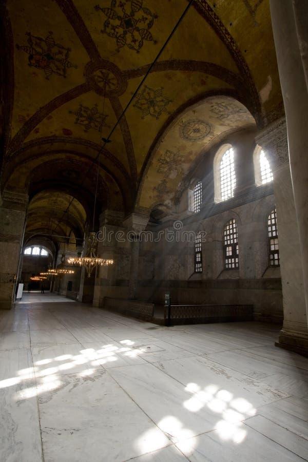 Indicatore luminoso di Dibine in Hagia Sophia fotografia stock