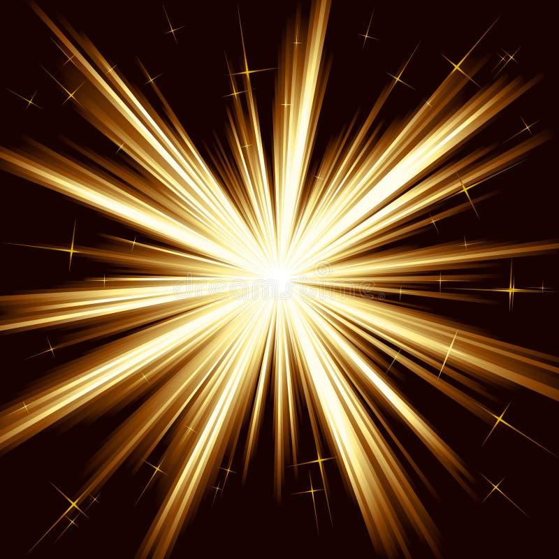 Indicatore luminoso dorato, burst della stella, fuochi d'artificio stilizzati illustrazione vettoriale