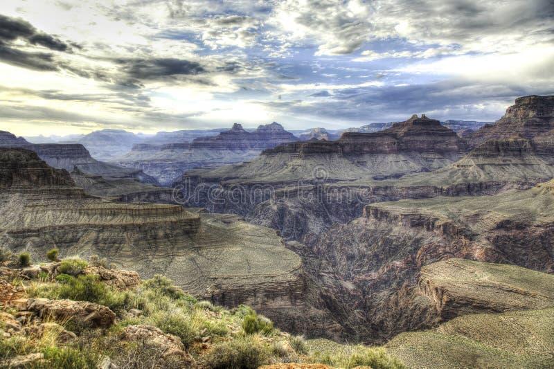 Indicatore luminoso drammatico del grande canyon immagini stock