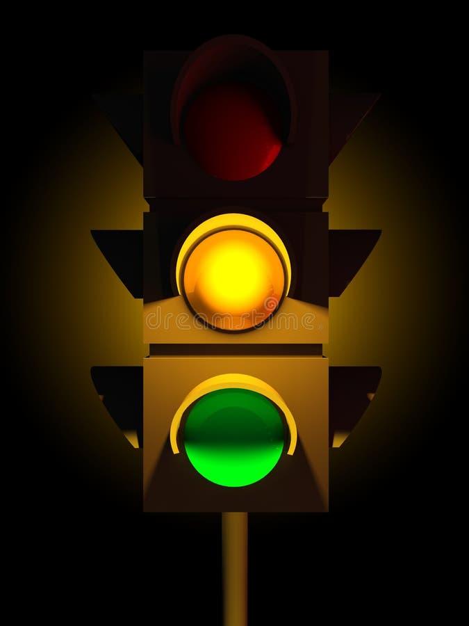 indicatore luminoso giallo di traffico 3d illustrazione di stock