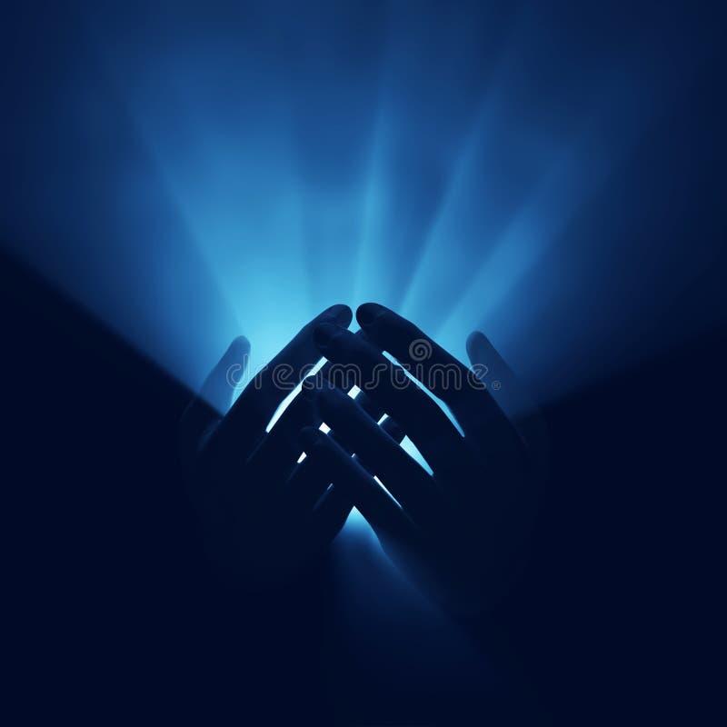 Indicatore luminoso in mani, energia magica fotografie stock libere da diritti