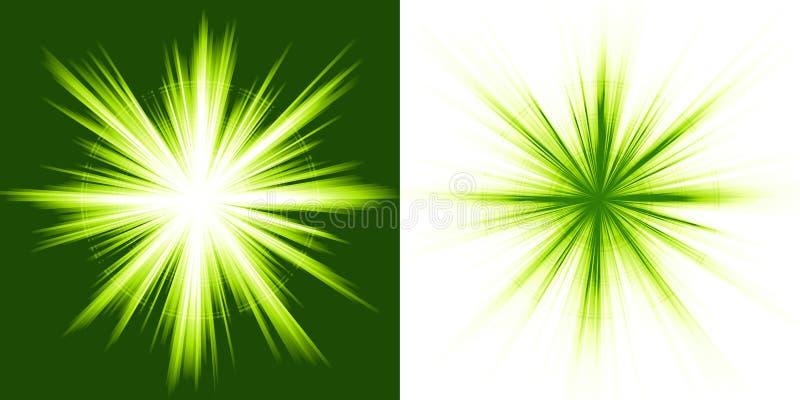 Indicatore luminoso verde, burst della stella royalty illustrazione gratis