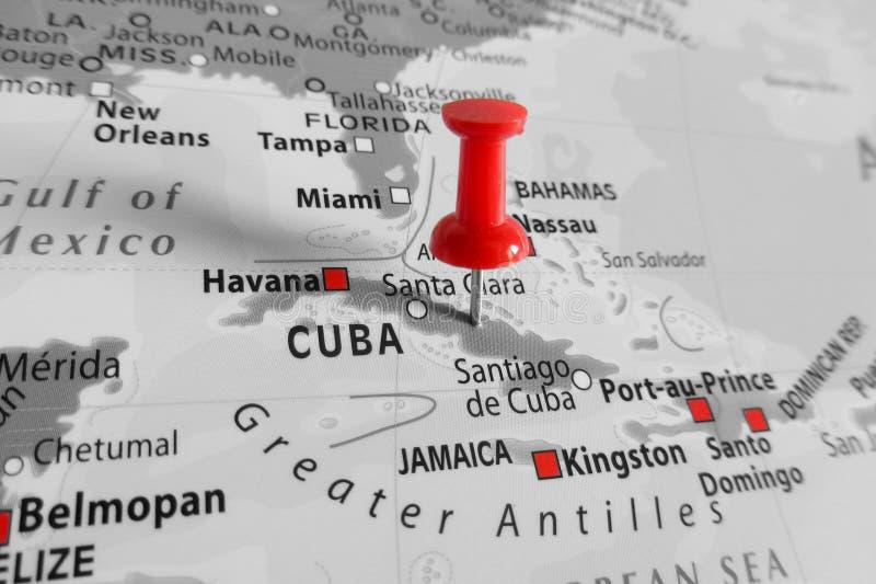Indicatore rosso sopra l'isola di Cuba immagini stock libere da diritti
