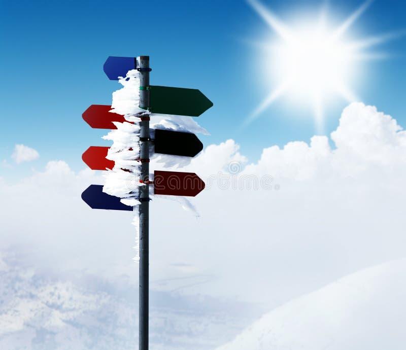 Indicatore stradale della montagna immagine stock libera da diritti