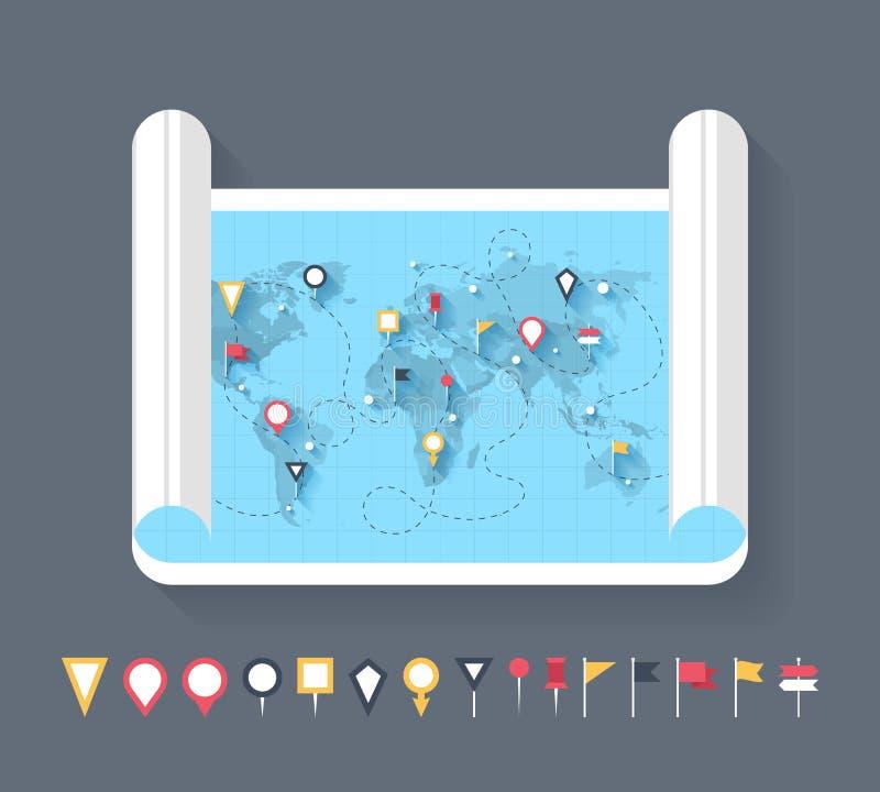 Indicatori della mappa royalty illustrazione gratis