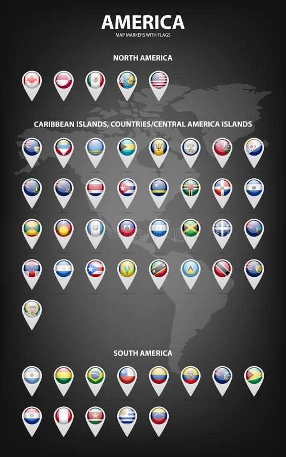 Indicatori della mappa con le bandiere - America Colori originali illustrazione di stock