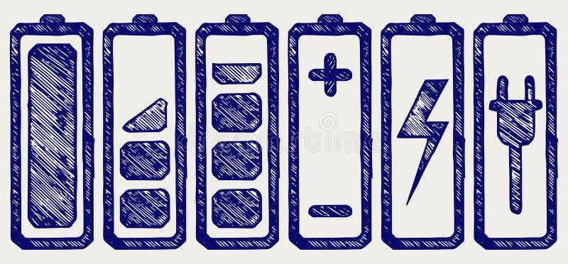 Indicatori di livello della carica della batteria illustrazione vettoriale