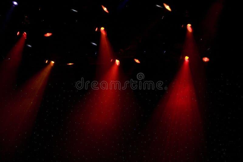 Indicatori luminosi del punto del teatro sulla fase immagini stock