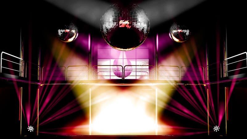 Indicatori luminosi della discoteca del randello di notte illustrazione vettoriale