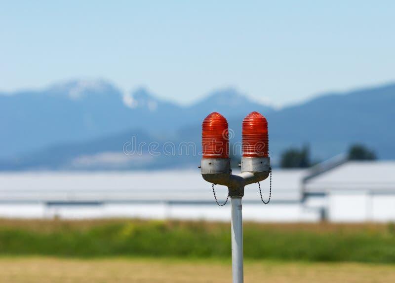 Indicatori luminosi di atterraggio della pista immagine stock