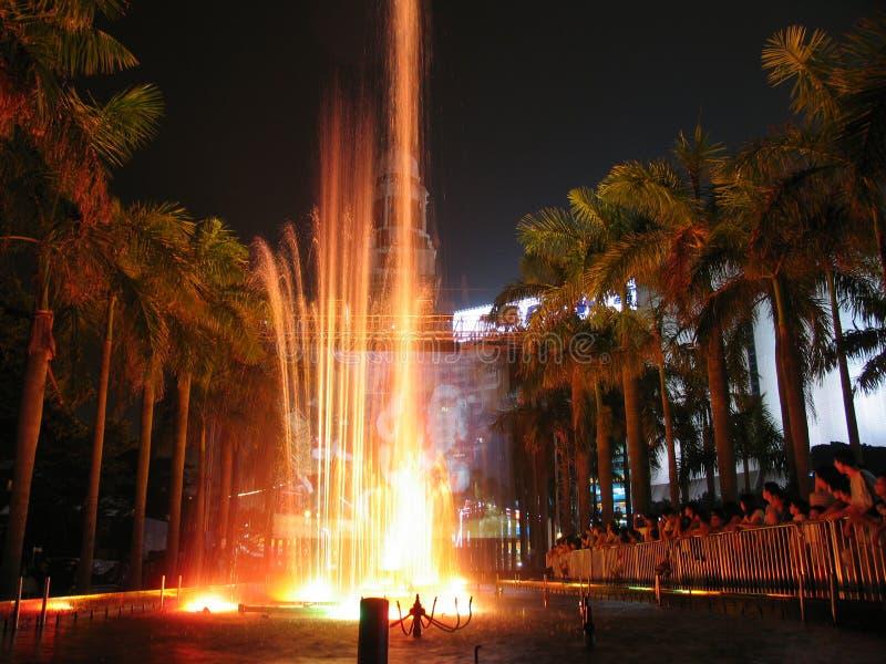 Indicatori luminosi di Hong Kong con lo schermo olografico immagine stock libera da diritti