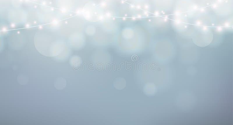Indicatori luminosi di natale Decorazione della ghirlanda di natale Fondo grigio con la nebbia di lustro, bokeh illustrazione vettoriale