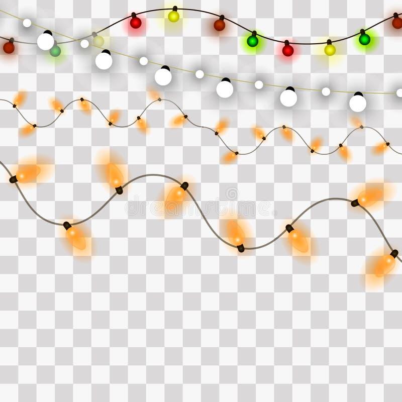 Indicatori luminosi di natale Elemets della cartolina d'auguri del nuovo anno e di natale Illustrazione di vettore royalty illustrazione gratis