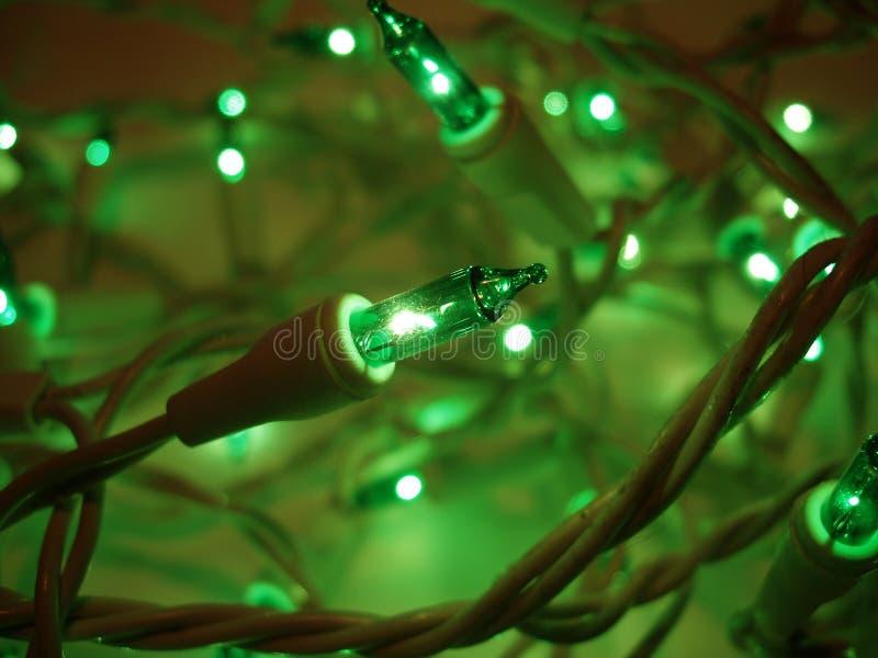 Indicatori luminosi di natale verdi ardenti fotografia stock libera da diritti
