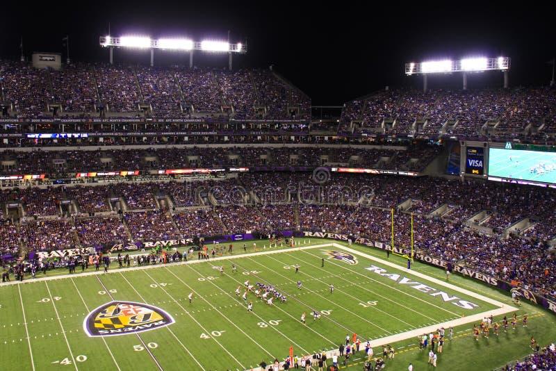 Indicatori luminosi di notte di lunedì di gioco del calcio del NFL fotografia stock libera da diritti