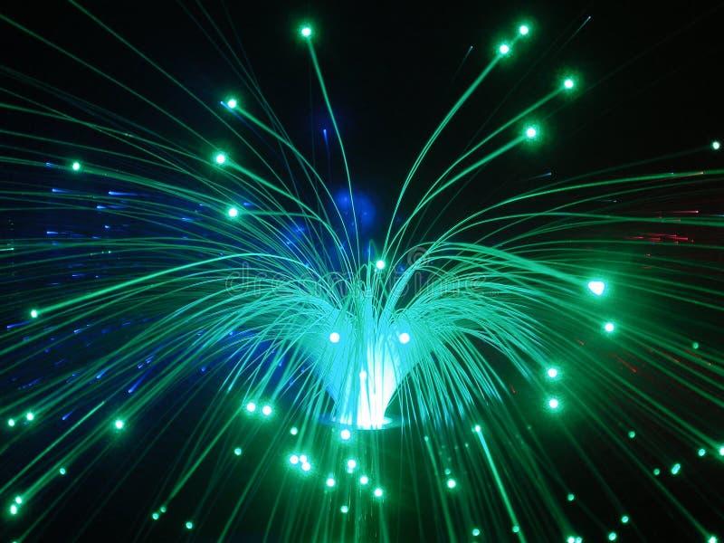 Indicatori luminosi di ottica delle fibre alla notte fotografia stock libera da diritti