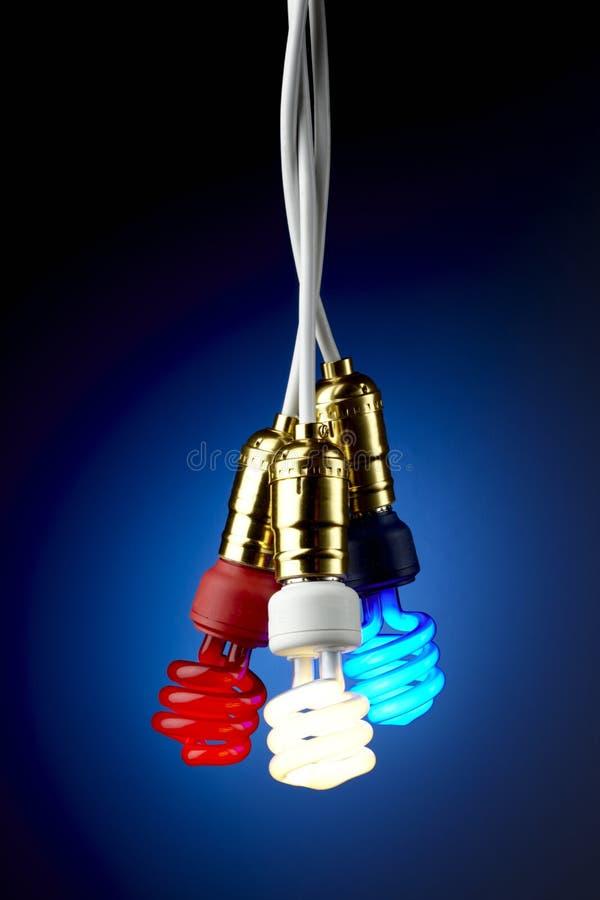 Indicatori luminosi fluorescenti compatti patriottici fotografie stock libere da diritti