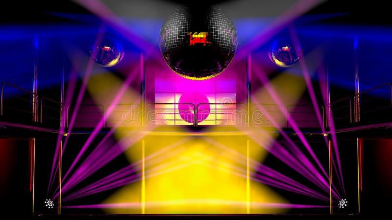 Indicatori luminosi variopinti del randello di notte e sfere della discoteca illustrazione vettoriale