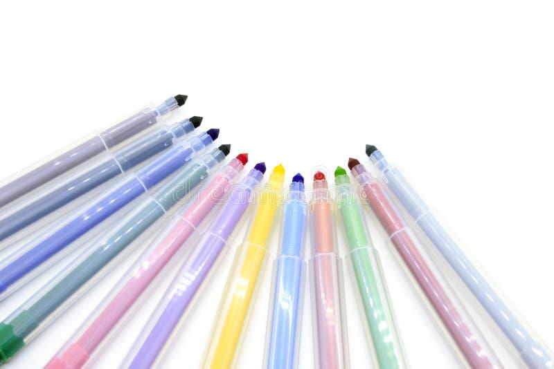 Indicatori multicolori isolati su un fondo bianco fotografia stock