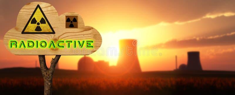 indicazione di legno del segno nucleare immagine stock
