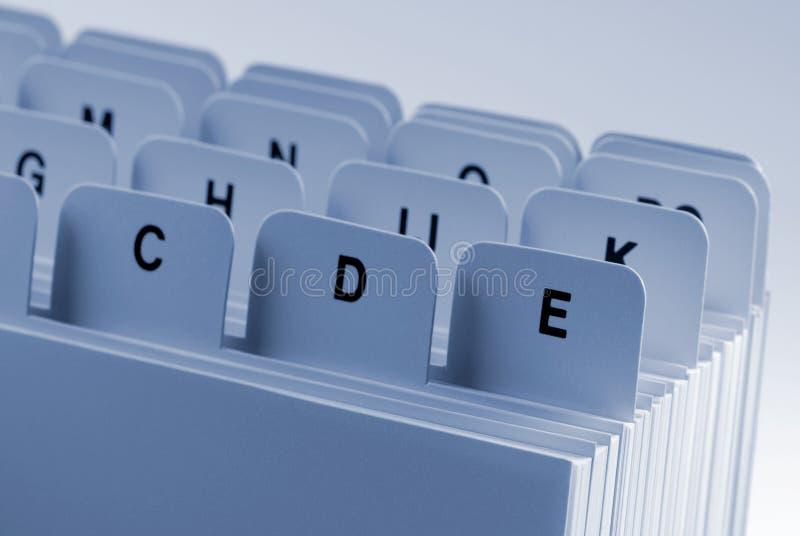 Indice analitico di scheda fotografia stock libera da diritti