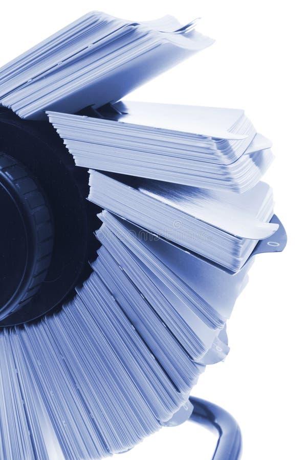 Indice analitico di scheda rotativo immagine stock