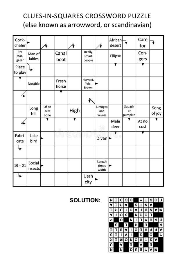 Indice-dans-places d'Arrowword, Scandinave, jeu de mots croisé de scanword illustration libre de droits