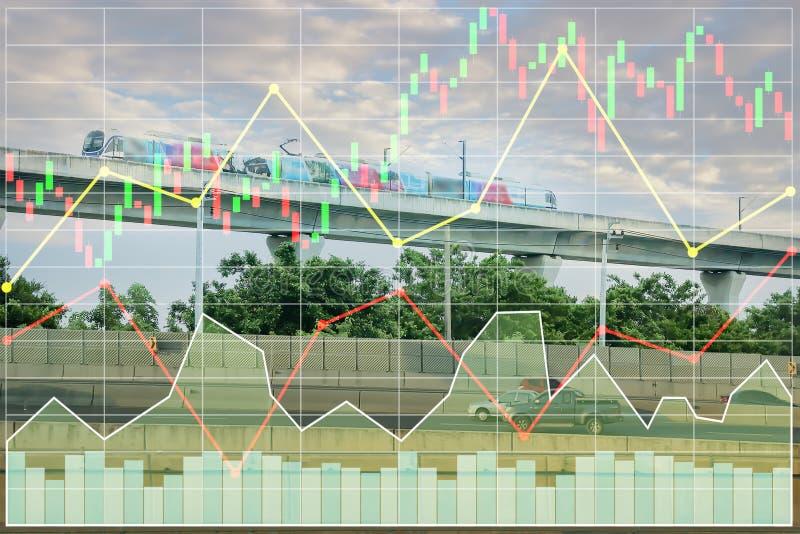 Indice di borsa di finanza di affari dell'investimento sul treno di alianti fotografia stock