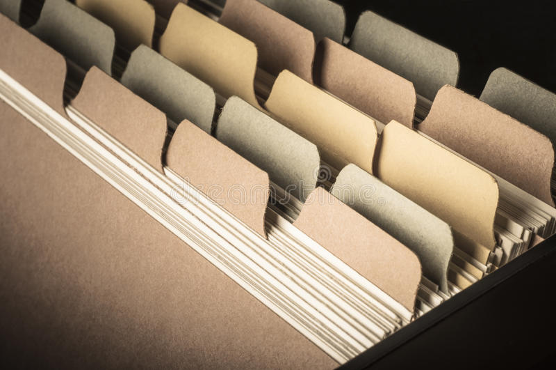 Indice di carta - tonalità d'annata immagine stock
