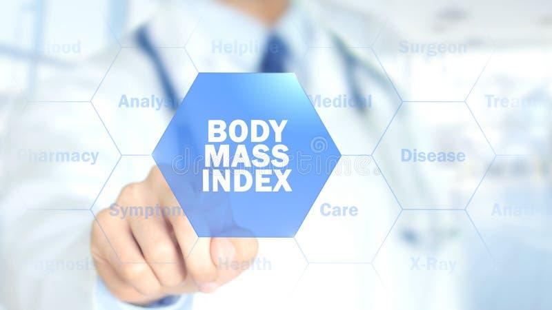 Indice di massa corporea, medico che lavora all'interfaccia olografica, grafici di moto fotografia stock