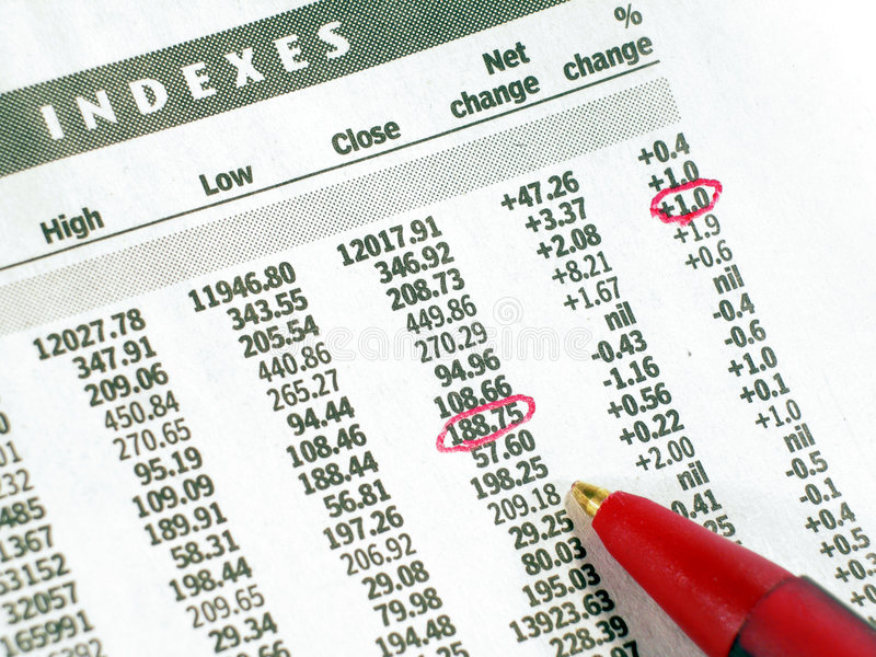 Indices des actions image stock