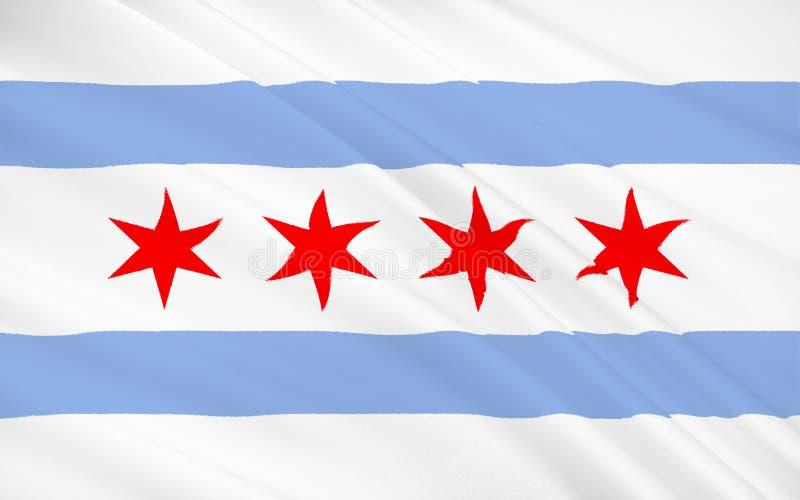 Indichi la bandiera di Chicago - città negli Stati Uniti illustrazione vettoriale