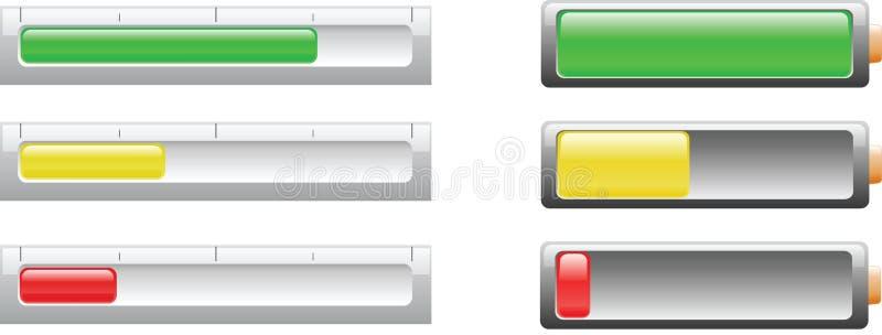 Indicicators del nivel de la batería o de potencia ilustración del vector