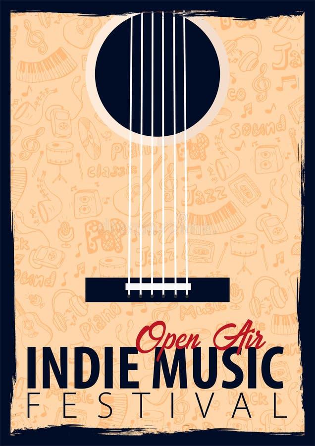 Indie музыкальный фестиваль Открытый воздух Шаблон дизайна рогульки с doodle рук-притяжки на предпосылке иллюстрация вектора