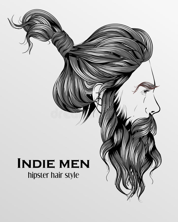 indie de stijl van het mensen hipster haar stock illustratie