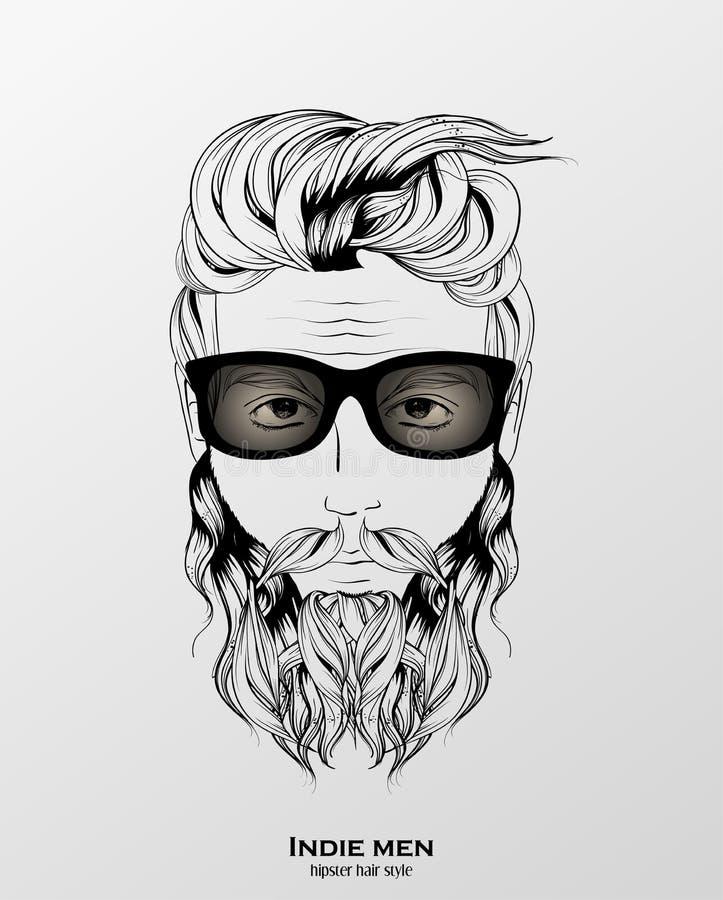 indie de stijl van het mensen hipster haar royalty-vrije illustratie