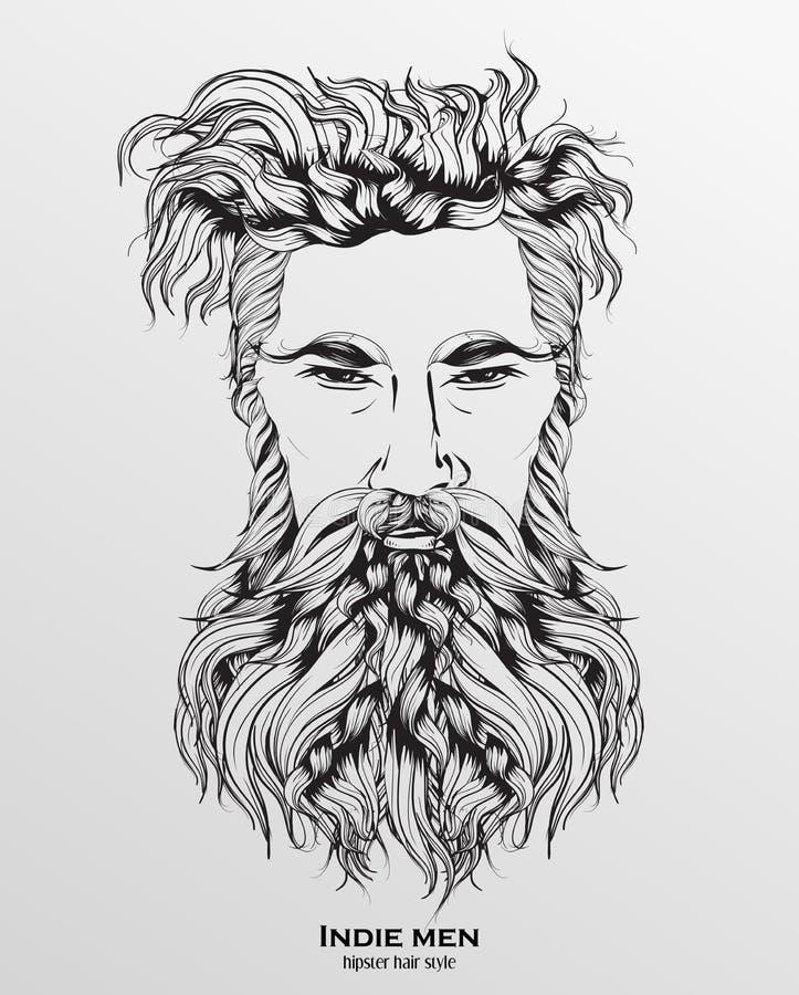 indie de stijl van het mensen hipster haar vector illustratie