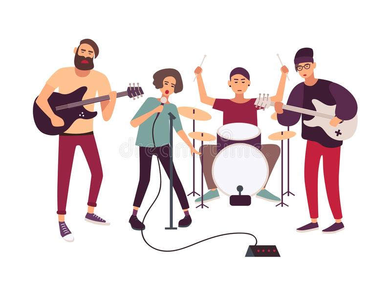 Indie rock music band performing on stage or rehearsing. Young woman singing into microphone and male musicians playing royalty free illustration