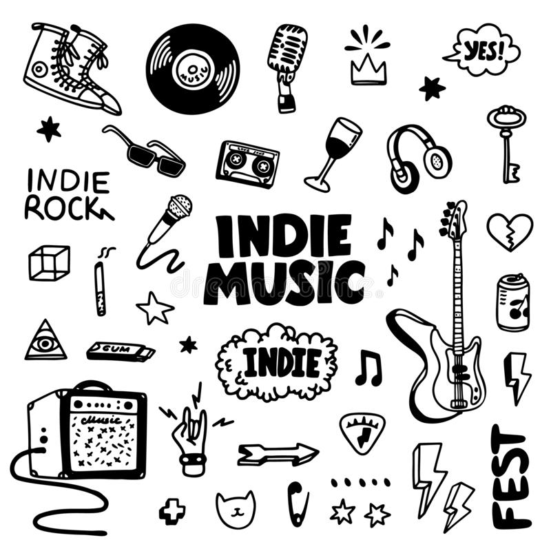 Free Indie Rock Music Tatoos Set. Black And White Illustration Of Music Related Objects Such As Guitar, Sound Amplifier, Rock Royalty Free Stock Photography - 163825857