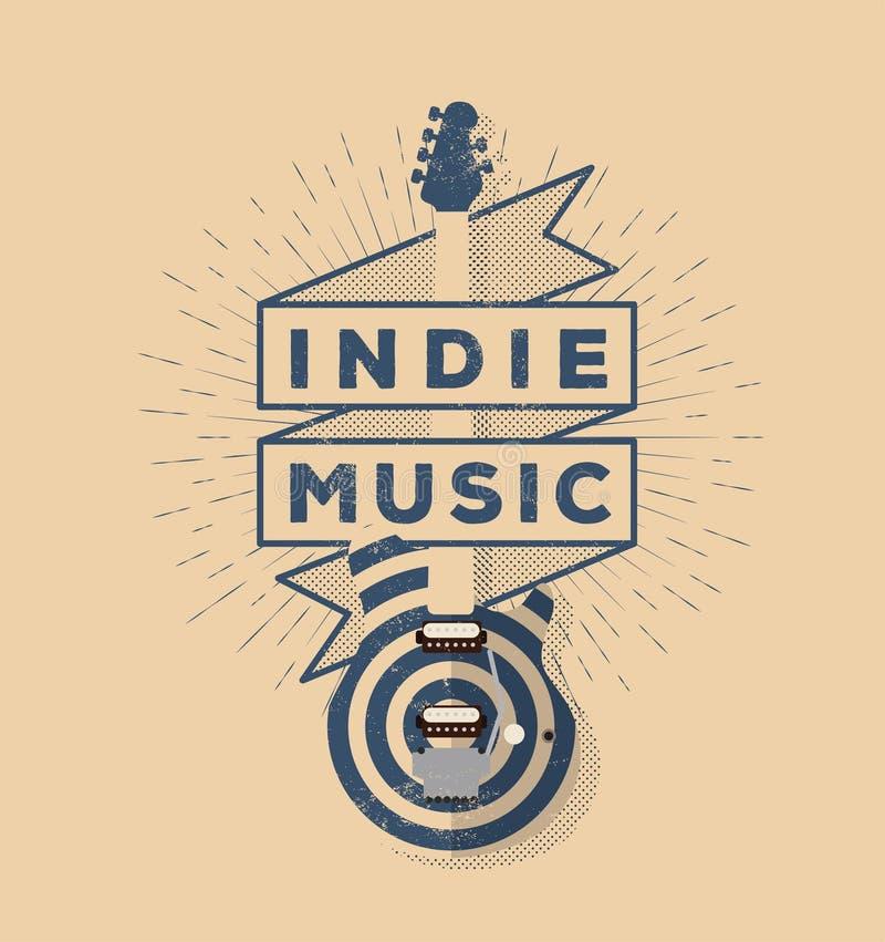 Indie Rockmusik-Weinlese angeredetes Ausweis-Design Schablone für Ihr Plakat, Flieger, Fahne, Design Auch im corel abgehobenen Be lizenzfreie abbildung