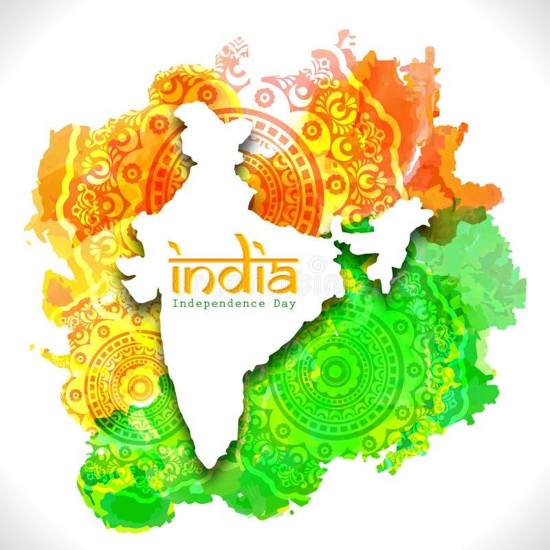 Indien översikt för indisk självständighetsdagen vektor illustrationer