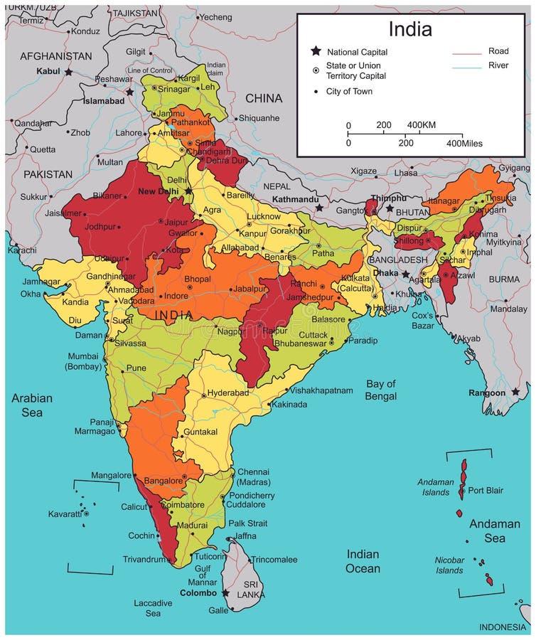 Indien översikt med valbara territorier vektor stock illustrationer