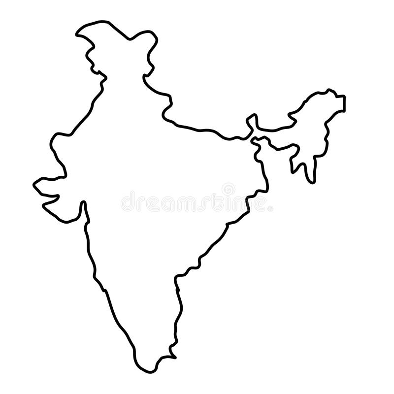 Indien översiktskontur royaltyfri illustrationer