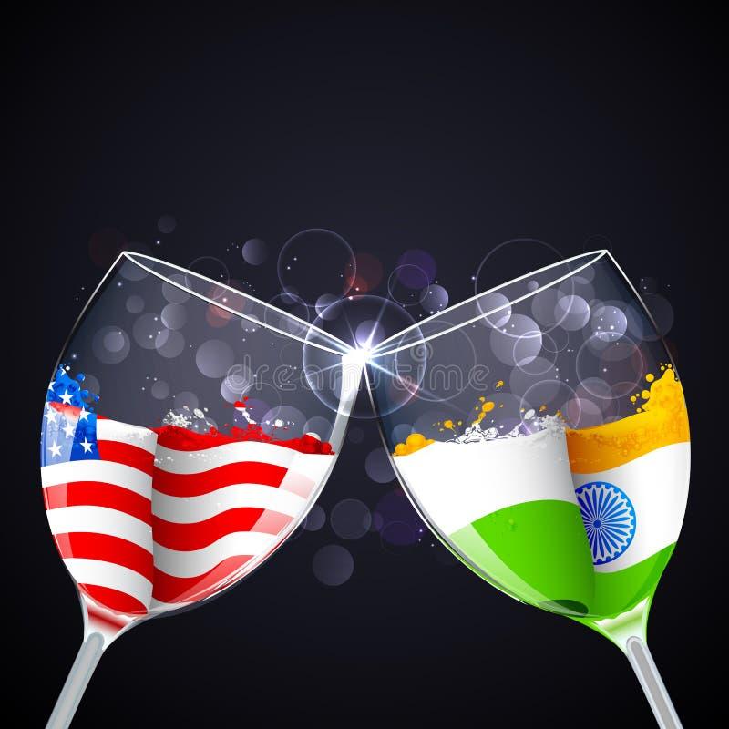 Indien-Amerika förhållande royaltyfri illustrationer
