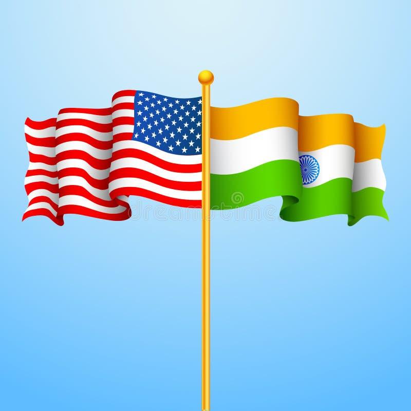 Indien-Amerika förhållande stock illustrationer