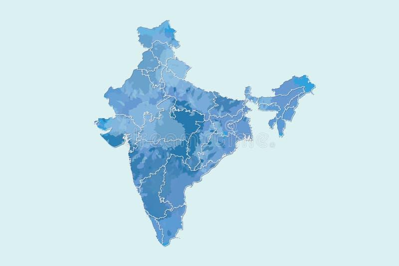 Indien-Aquarellkarten-Vektorillustration in der blauen Farbe mit verschiedenen Regionen oder Abteilungen auf hellem Hintergrund u stock abbildung
