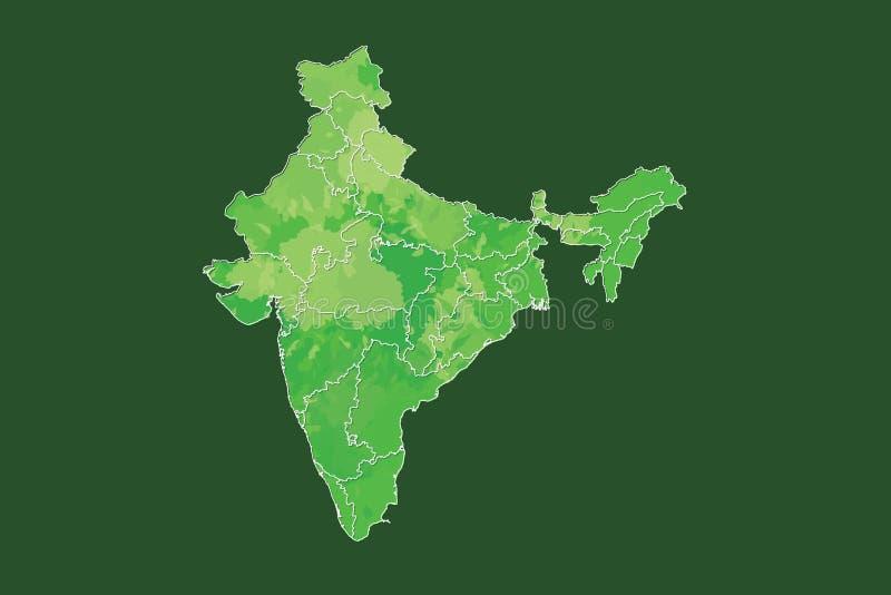 Indien-Aquarellkarten-Vektorillustration in der grünen Farbe mit verschiedenen Regionen oder Abteilungen auf dunklem Hintergrund  vektor abbildung