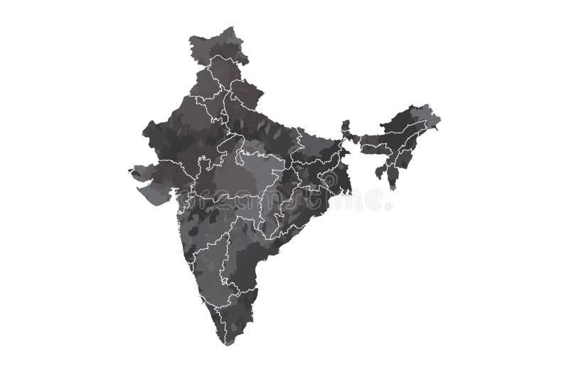 Indien-Aquarellkarten-Vektorillustration in der schwarzen Farbe mit verschiedenen Regionen oder Abteilungen auf weißem Hintergrun lizenzfreie abbildung